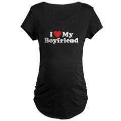 I Love My Boyfriend Maternity Dark T-Shirt