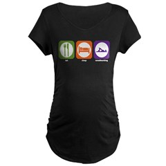 Eat Sleep Woodworking Maternity Dark T-Shirt