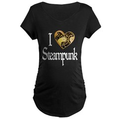 Heart Steampunk Maternity Dark T-Shirt