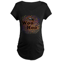 Woo Hoo Confetti Graduation Maternity Dark T-Shirt