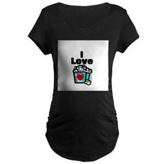 I Love Popcorn Maternity Dark T-Shirt