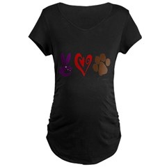 Peace, Love, Rescue Maternity Dark T-Shirt