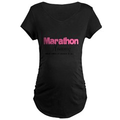 Marathon Mommy Peace Quie Maternity Dark T-Shirt