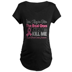 Breast Cancer Fake Maternity Dark T-Shirt