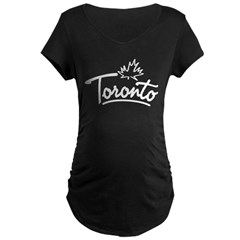 Toronto Leaf Scrip Maternity Dark T-Shirt