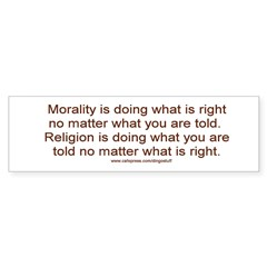 &quot;Morality vs. Religion&quot; Sticker (Bumper 50 pk)