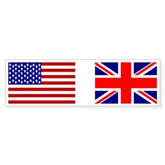 USA & Union Jack Rectangle Sticker (Bumper 50 pk)