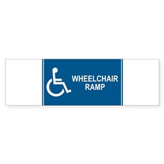 Wheelchair Ramp Notice Rectangle Sticker (Bumper 50 pk)