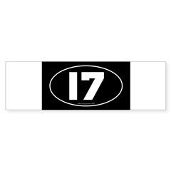 #17 Euro Bumper Oval Sticker -Black Sticker (Bumper 50 pk)