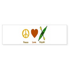 Peace,Luv,Kayak Sticker (Bumper 50 pk)