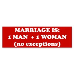 Marriage is 1 Man + 1 Woman Sticker (Bumper 50 pk)