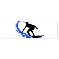Wave Surfing Oval Sticker (Bumper 50 pk)