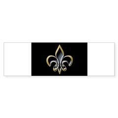 Fleur de Lis on BLK Oval Sticker (Bumper 50 pk)