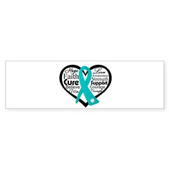Heart Ovarian Cancer Sticker (Bumper 50 pk)