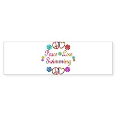Peace Love Swimming Sticker (Bumper 50 pk)