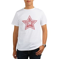 Red-Star-Faded-Blk Organic Men's T-Shirt