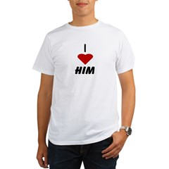 I Heart Him Ash Grey Organic Men's T-Shirt