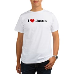 I Love Justin Ash Grey Organic Men's T-Shirt