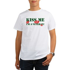 Kiss Me I'm A Veteran Ash Grey Organic Men's T-Shirt