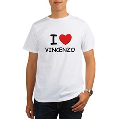 I love Vincenzo Ash Grey Organic Men's T-Shirt
