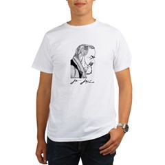 "Padre Pio Signature Grey T-Shirt. ""Pray, Hope"" Organic Men's T-Shirt"