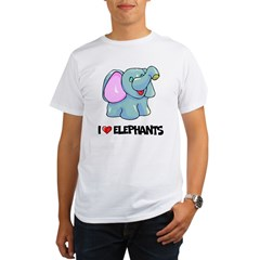 I Love Elephants Ash Grey Organic Men's T-Shirt