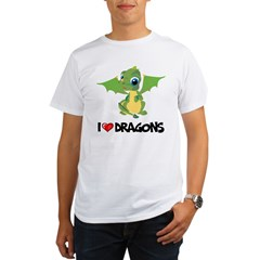 I Love Dragons Ash Grey Organic Men's T-Shirt
