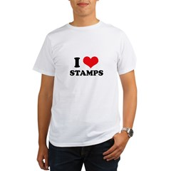 I Love (Heart) Stamps Organic Men's T-Shirt