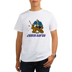 Jesus Saves (Hockey Goalie) Organic Men's T-Shirt