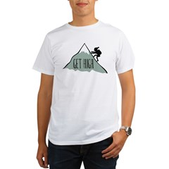 Get High: Mountain Climbing Organic Men's T-Shirt