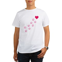 Pink Paw Prints To My Hear Organic Men's T-Shirt