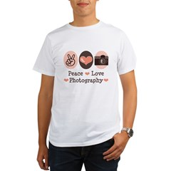 Peace Love Photography Camera Organic Men's T-Shirt
