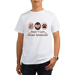 Peace Love Italian Greyhound Organic Men's T-Shirt