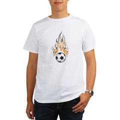 Soccer Ball & Flame Organic Men's T-Shirt