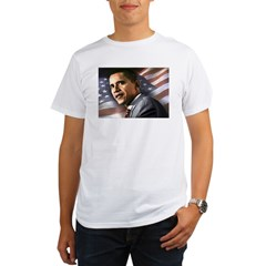 Flag Background with Obama Organic Men's T-Shirt