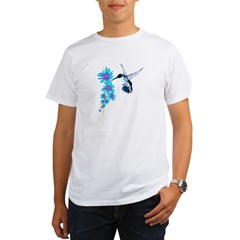 Humming Bird In Blue Organic Men's T-Shirt
