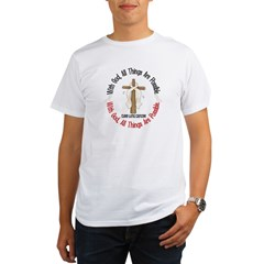 With God Cross Lung Cancer Organic Men's T-Shirt
