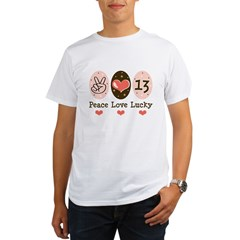 Peace Love Lucky 13 Organic Men's T-Shirt
