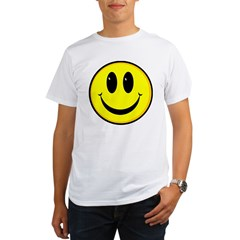 SMILEY FACE Ash Grey Organic Men's T-Shirt