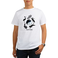 5 animal Kung Fu logo Ash Grey Organic Men's T-Shirt