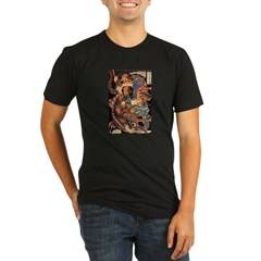 Miyamoto Musashi Fights Nue Ash Grey Organic Men's Fitted T-Shirt (dark)