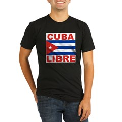 Cuba Libre Free Cuba Ash Grey Organic Men's Fitted T-Shirt (dark)