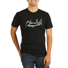 Love and Peace Arabic Black Organic Men's Fitted T-Shirt (dark)