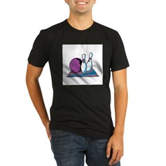 Turquoise and Purple Bowling Design Organic Men's Fitted T-Shirt (dark)