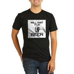 Will Knit for Beer Organic Men's Fitted T-Shirt (dark)