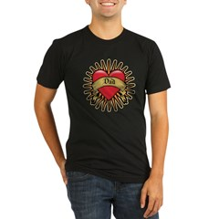 Father's Day Red Heart Dad Tattoo Organic Men's Fitted T-Shirt (dark)