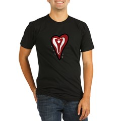 Valentine Dotty Heart Organic Men's Fitted T-Shirt (dark)