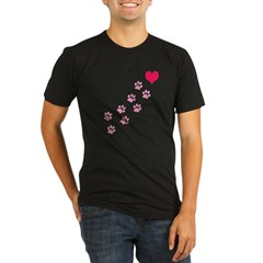 Pink Paw Prints To My Hear Organic Men's Fitted T-Shirt (dark)