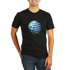 Greece Flag Soccer Ball Organic Men's Fitted T-Shirt (dark)