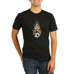 Soccer Ball & Flame Organic Men's Fitted T-Shirt (dark)